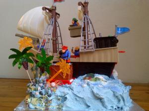 One very happy little boy got this pirate ship birthday cake