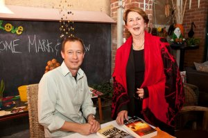 Author Andrew Brown with DA councilor Pat Richards at one of the Bloody Book Week events in August