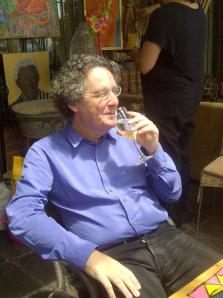 Anton Harber enjoying a glass of bubbly