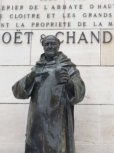 The statue of Dom Perignon outside Moet et Chandon in Epernay